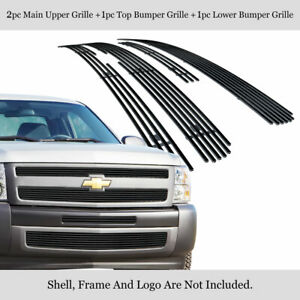 Fits 2007 2013 Chevy Silverado 1500 Black Billet Grille Grill Insert Combo