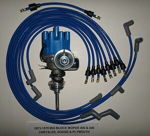 Mopar 440 1973 78 Blue Small Female Cap Hei Distributor 8mm Spark Plug Wires