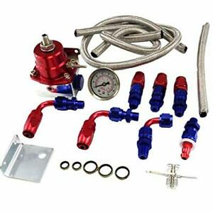 Adjustable Fuel Pressure Regulator Kit W An6 Fittings Flares Braided Lines 1 5m