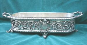 French 19c Silver On Bronze Planter Center Piece Magnificent