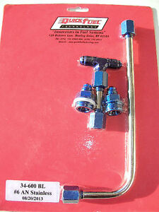 Dual Feed Fuel Line Log 6an Holley Carburetor Blue Stainless Steel 34 600bl
