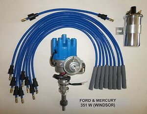 Ford 351w Windsor Blue Small Female Hei Distributor 45k Coil Spark Plug Wires
