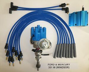 Ford 351w Windsor Blue Small Female Hei Distributor 50k Coil Spark Plug Wires