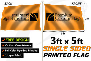 3 x5 Full Color Single Sided Custom Flag With Grommets