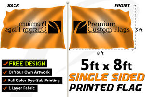 5 x8 Full Color Single Sided Custom Flag With Grommets