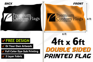 4 x6 Full Color Double Sided Custom Flag With Grommets