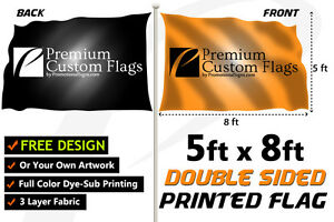 5 x8 Full Color Double Sided Custom Flag With Grommets