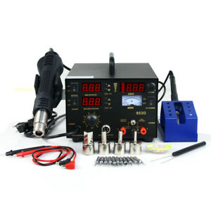 3 In 1 Soldering Iron Rework Stations Smd Hot Air Gun Desoldering Welder 853d