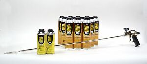 Great Stuff Wall Floor Adhesive 12 26 5 Oz Cans 4 Foot Foam Gun 2 Cleaner