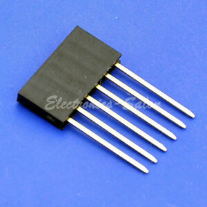 500x 6 Pin Single Row 15mm Tall Header Socket Connector For Arduino Pitch 0 1