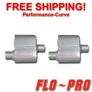 Pair Of Single Chamber Performance Race Mufflers Flo Pro O C 2 25 V72441