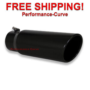 Black Diesel Stainless Steel Bolt On Exhaust Tip 4 Inlet 5 Outlet 15 Long