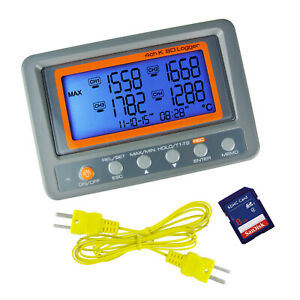 K Type Thermometer Thermocouple 4 Channel Meter Sd Card Logger 328 To 2498 f