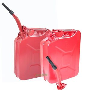 Lot Two Red 5 Gallon Jerry Can Gas Fuel Steel Tank Military Style Storage Can