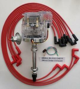Chevy 350 Sbc Clear Super Hei Distributor Red Spark Plug Wires Under Exhaust