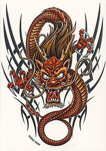 Rare Chinese Tribal Gold Raging Dragon Asian Car Vinyl Sticker decal Art By Odm