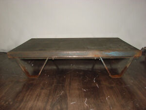 Antique Industrial Factory Rocker Railroad Cart Platform Pallet Coffee Table