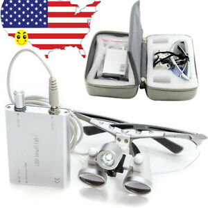 Portable Dental Surgical Loupes 2 5x 420mm Led Head Light Lamp Carry Case Bag
