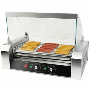 New Commercial 18 Hot Dog Hotdog 7 Roller Grill Cooker Machine W Cover