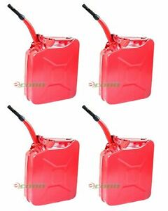 Lot Four Red 5 Gallon Jerry Can Gas Fuel Steel Tank Military Style Storage Can