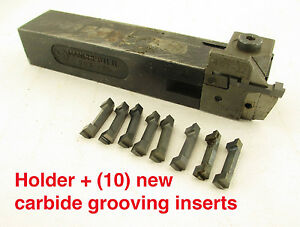 Manchester Indexable Lathe Tool Holder 10 New Grooving Inserts 1 Shank