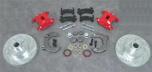 Mustang Ii 2 Front Disc Brake Slotted Ford No Spindles Red Wilwood Dual Calipers