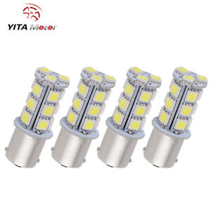 4x White 1156 Ba15s 5050 18smd Led Interior Back Up Reverse Tail Light Bulbs 12v