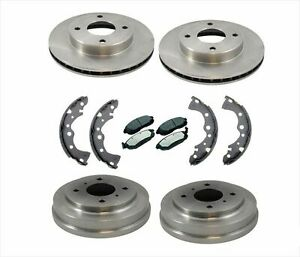 New Front Rotors Brake Pads Rear Drums Shoes For Nissan Sentra 02 06 1 8l 4 Stud