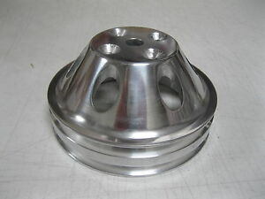 Small Block Mopar Polished 2 Double Groove Upper Water Pump Pulley Dodge