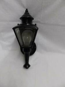 Vintage Brass Lantern Wall Sconce Light Fixture Beveled Glass Panels 3167 14