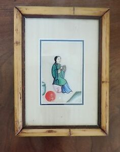 Antique Chinese Watercolor Painting Pith Paper Silk 19th C Framed Flute Player