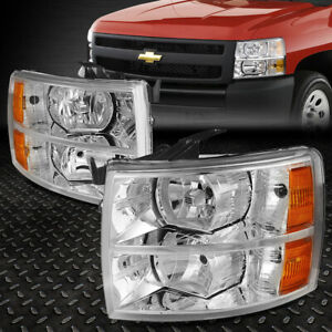 For 07 14 Chevy Silverado Chrome Housing Amber Corner Headlight Replacement Lamp