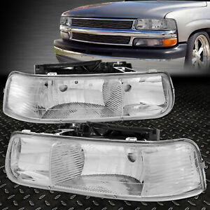 For 99 02 Chevy Silverado 00 06 Suburban 1500 2500 Chrome Housing Headlight Lamp