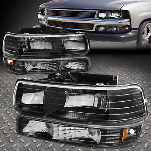 For 99 02 Chevy Silverado Black Housing Amber Corner Headlight Bumper Head Lamp