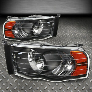 For 02 05 Dodge Ram 1500 2500 3500 Black Housing Amber Corner Headlight Lamps