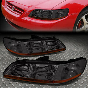 For 1998 2002 Honda Accord Pair Smoked Housing Amber Corner Headlight lamp Set