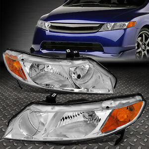 For 06 11 Honda Civic Sedan Pair Chrome Housing Amber Corner Headlight Head Lamp