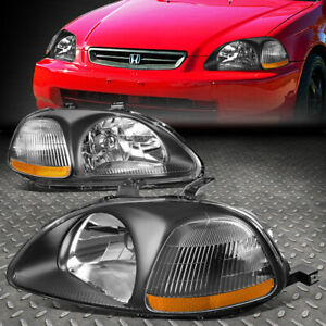For 96 98 Honda Civic Ej em ek Black Housing Amber Corner Headlight Signal Lamp