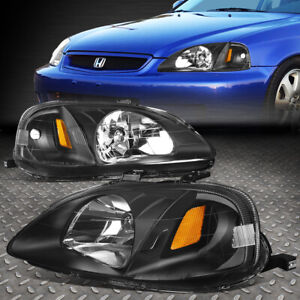 For 1999 2000 Honda Civic Ek Ej Em Black Housing Amber Side Headlight Lamp Set