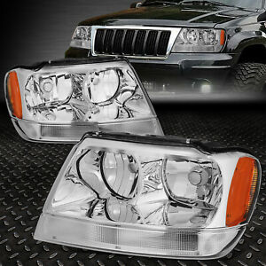 For 1999 2004 Jeep Grand Cherokee Chrome Housing Amber Corner Headlight Lamp Set