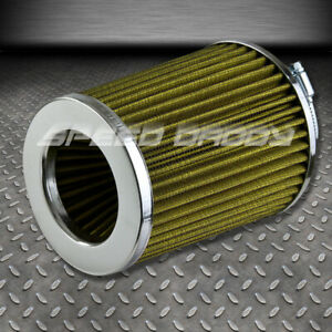 3 High Flow Short Ram cold Air Intake 7 Round Straight Yellow Rubber Filter