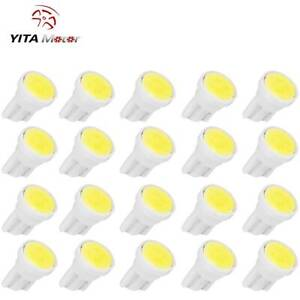 20x Pure White T10 Wedge Side Cob Led Bulb Interior Instrument Panel Lights