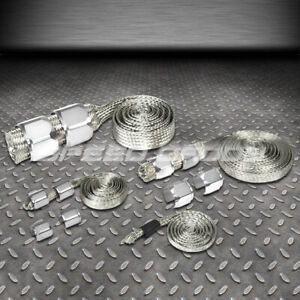Braided Stainless Steel Vacuum Fuel Radiator Oil Line Dress Up Hose Cover Silver