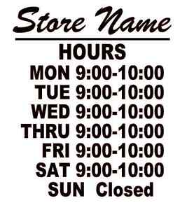 Business Store Hours Sign Window Shop Open Closed Vinyl Decal 10 x9 Ver 4