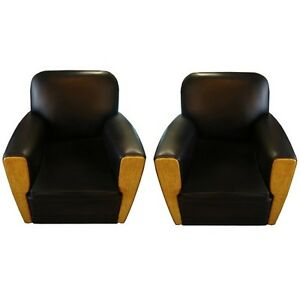 Pair Of Art Deco Chairs In Black Leather France 1800 1899 6531
