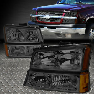 For 03 06 Chevy Silverado Avalanche 1500 3500 Bumper Headlight Lamp Smoked amber