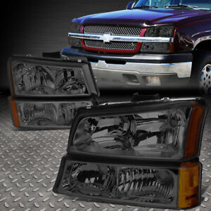 For 2003 2006 Chevy Silverado Smoked Housing Amber Side Headlight Lamp Set 4pcs
