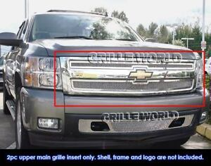 Fits 2007 2011 Chevy Silverado 1500 Stainless Mesh Main Upper Grille