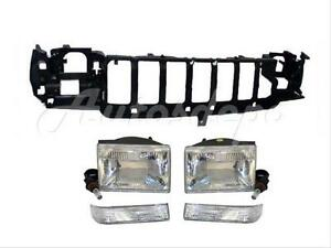 For 1997 1998 Grand Cherokee Front Header Panel Headlight Park Signal Light 5pcs