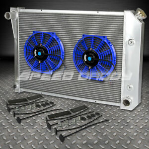 For 73 74 Buick Apollo chevy Nova omega ventura 3 Row core Radiator 10 blue Fan